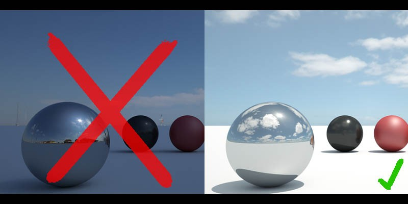 left: bad clamped hdri. right: good unclamped hdri